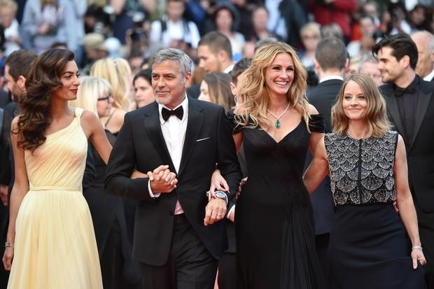 Amal Alamuddin, Geroge Clooney, Julia Roberts e Jodie Foster (Foto: AFP)