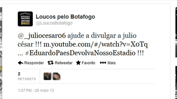 Julio Cesar twitter Eduardo Paes  (Foto: Reprodução / Twitter)