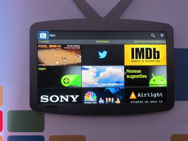 Imagem da tela de aplicativos da Google TV da Sony (Foto: Gustavo Petró/G1)
