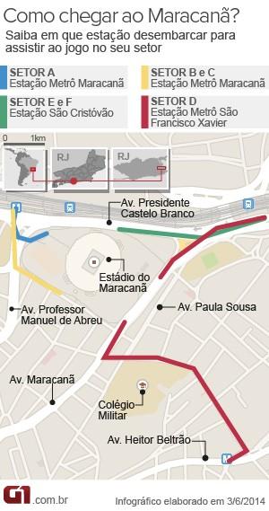 mapa, arte, maracanã, como chegar, metrô (Foto: Editoria de Arte/G1)