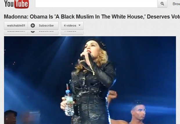 Madonna discursa durante apresentação em Washington; vídeo foi postado no Youtube (Foto: Reprodução)