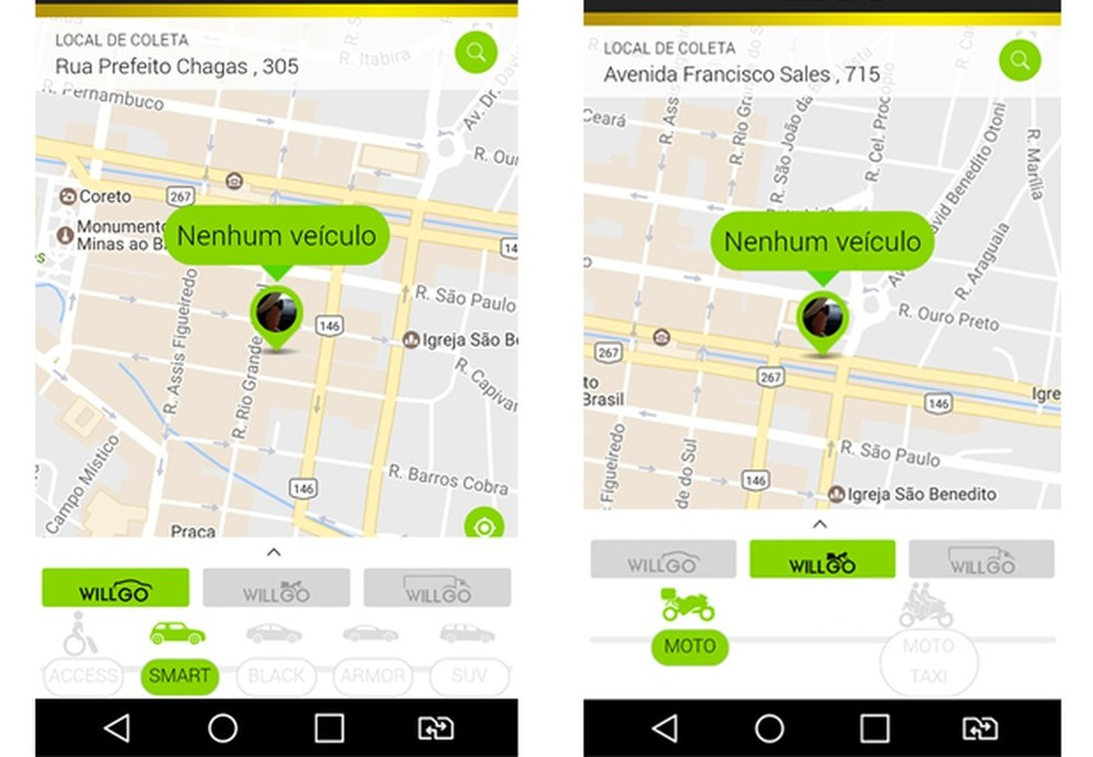 Serviço de transporte oferecido por aplicativo completa quase duas semanas de funcionamento em Poços de Caldas (MG)  (Foto: Montagem/G1 Sul de Minas)