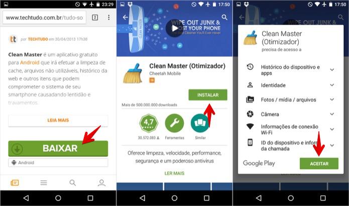 Instalando o Clean Master no celular (Foto: Reprodução/Helito Bijora)