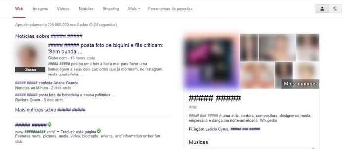 Extensão No Cyrus impede a visualização de fotos e nome da cantora na Internet (Foto: Reprodução/Raquel Freire)
