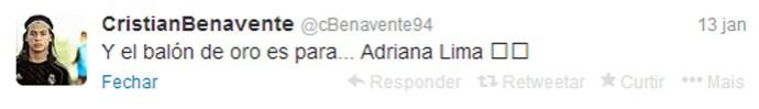 Cristian Benavente post Twitter Adriana Lima (Foto: Reprodução/Twitter)