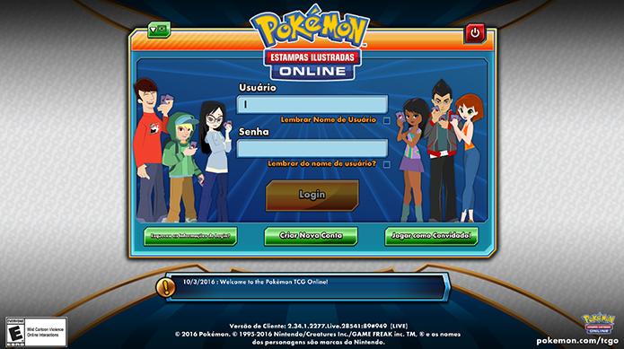 Faça login no Pokémon TCG (Foto: Reprodução/Murilo Molina)