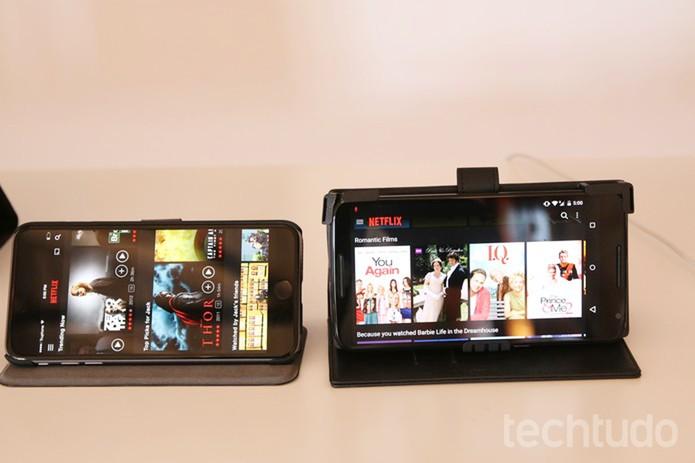 Netflix antes e depois no celular: conteúdo passa a tirar mais proveito do touch (Foto: Fabrício Vitorino/TechTudo)
