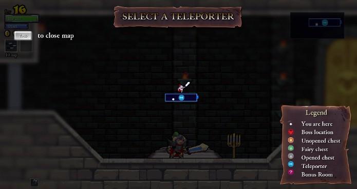Use o teleporter para ir em qualquer lugar já visitado no mesmo castelo (Foto: Reprodução / João Moura)