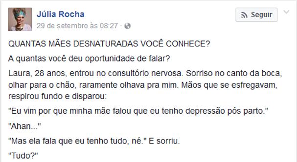 Texto viral da médica Júlia Rocha (Foto: Reprodução Facebook)