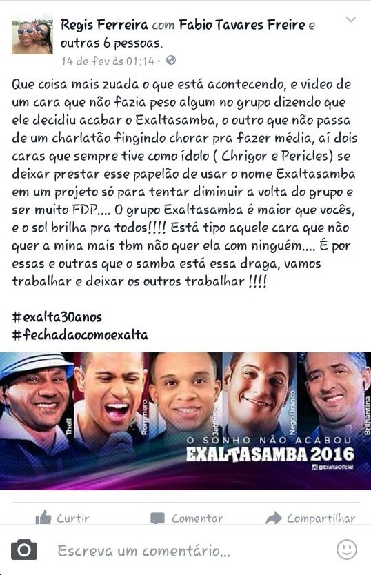Turnê de Thiaguinho e Péricles no ano da volta do Exaltasamba é criticada (Foto: Reprodução/Facebook)