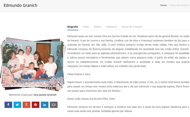 Perfil de Edmundo Granich no site Memorial Oline, administrado pelo neto Felismino Alves Ferreira Junior (Foto: Memorial Online/Reprodução)