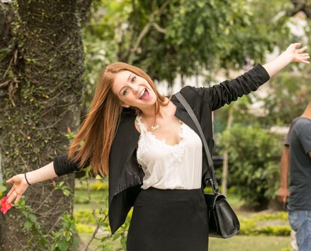 Marina esbanja simpatia em externa (Foto: Inácio Moraes/Gshow)