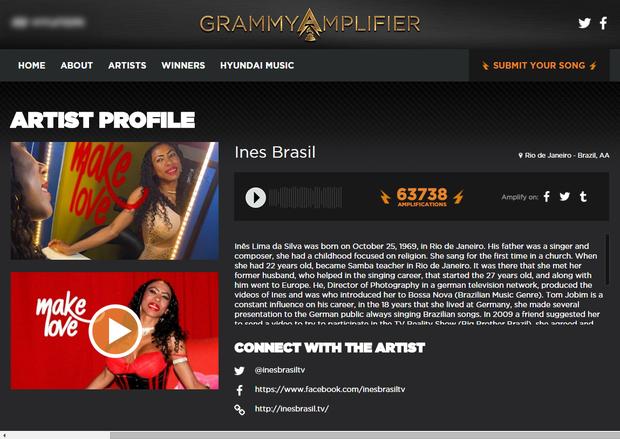 Inês Brasil em destaque no site do Grammy (Foto: Reprodução/grammyamplifier.com)