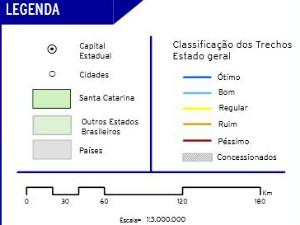 Mapa mostra condições das rodovias pesquisadas (Foto: CNT/Divulgação)