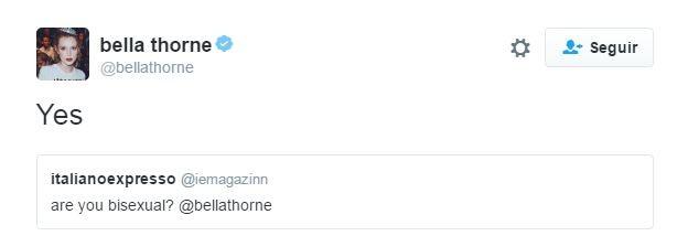 Bella Thorne assumiu bissexualidade (Foto: Reprodução/Twitter)