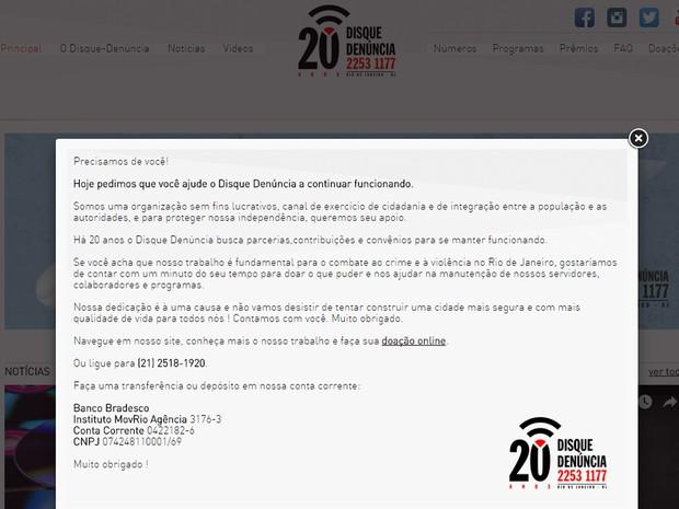 Mensagem no site do Disque-Denúncias pede doações financeiras para que o serviço continue operando no Rio de Janeiro (Foto: Reprodução/Disque-Denúncias)