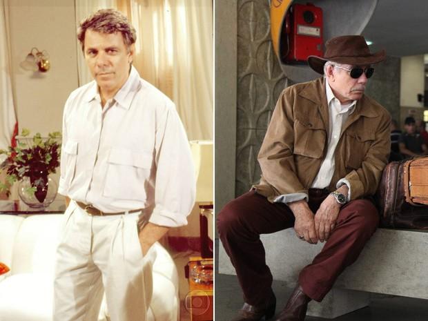 Reginaldo Faria em 1989 e 2014 (Foto: CEDOC / Carol Caminha / TV Globo)