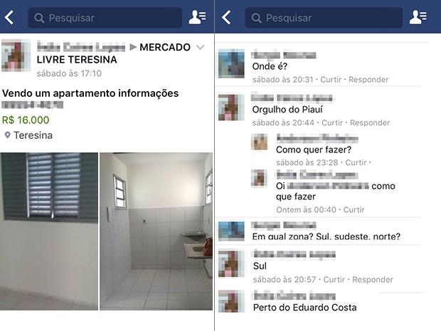 Casas de projeto social do governo federal são vendidas de forma irregular na internet (Foto: Reprodução/Facebook)