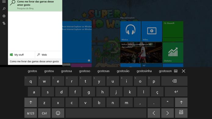 Windows 10 também faz sugestões de palavras com base na digitação do usuário (Foto: Reprodução/Elson de Souza) (Foto: Windows 10 também faz sugestões de palavras com base na digitação do usuário (Foto: Reprodução/Elson de Souza))