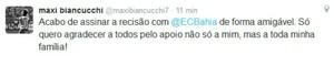 Maxi Biancucchi rescinde contrato com o Bahia (Foto: Reprodução / Twitter)