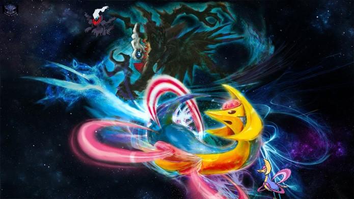 Os lendários Cresselia e Darkrai representam fases da lua em Pokémon Diamond & Pearl (Foto: Reprodução/Rafael Monteiro)