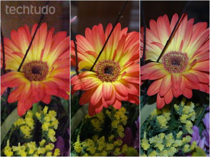 Teste de luminosidade com a NX2000. A primeira foto com luz baixa em ISO 800, a segunda com luz ideal e a a terceira em baixa luminosidade e flash (Foto: TechTudo/Luciana Maline)