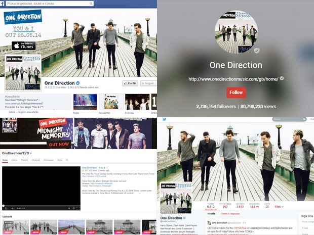 Perfis do One Direction no Facebook, Google +, Vevo e Twitter (Foto: Divulgação)