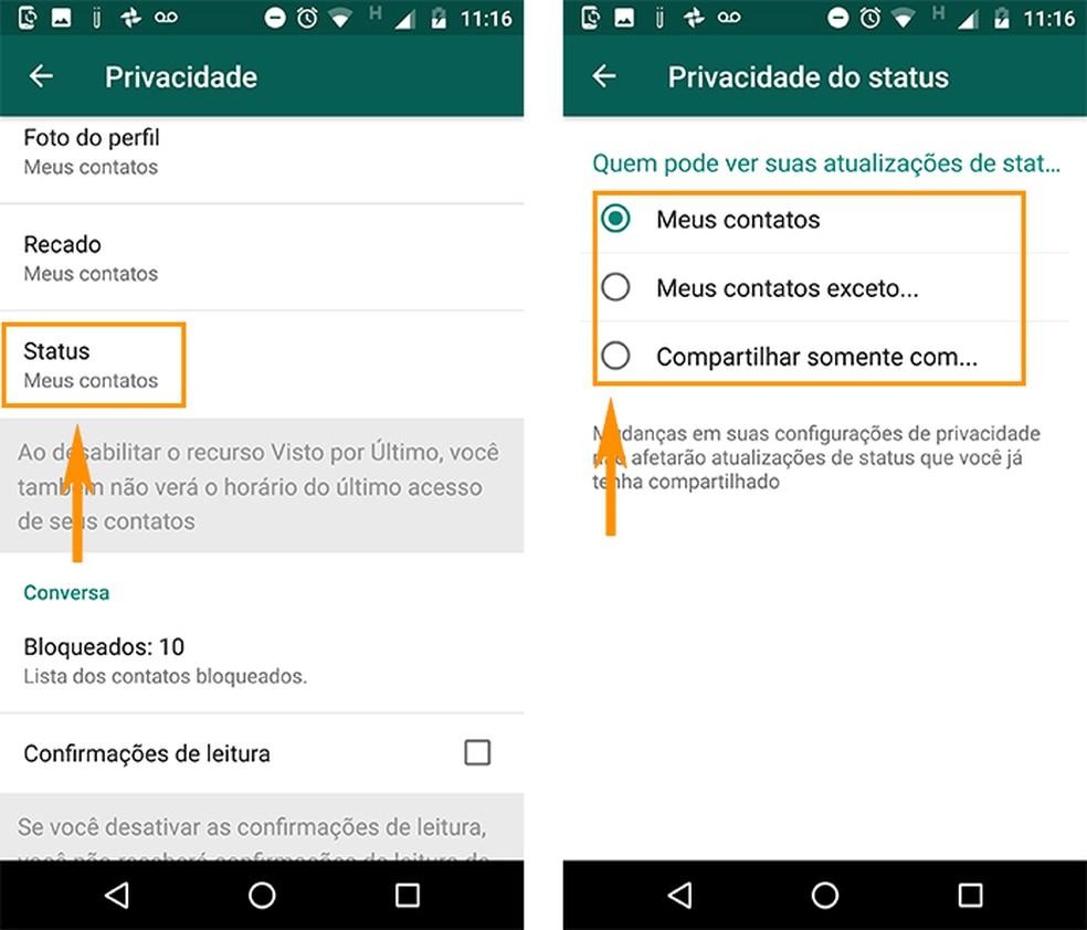 Altere a privacidade dos posts de Status do WhatsApp (Foto: Reprodução/Barbara Mannara)