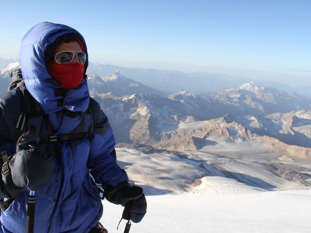 Igor Galli escalou a maior montanha da Europa, Goiânia, Goiás (Foto: Arquivo Pessoal/Igor Galli)
