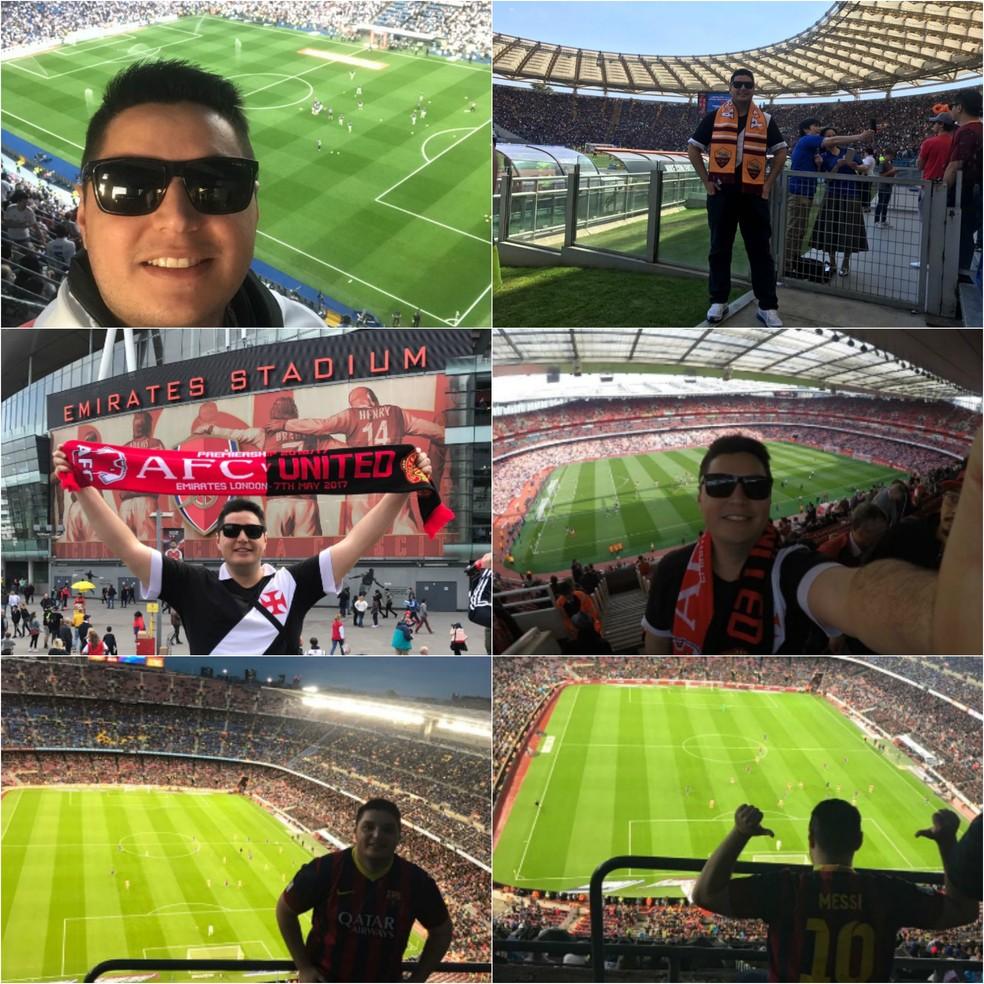 Bruno conheceu cinco estádios durante viagem a Europa (Foto: Divulgação/Arquivo pessoal)