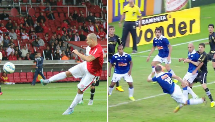Internacional Inter Nilton gol voleio Inter Cruzeiro montagem Nilton (Foto: Montagem sobre fotos/Divulgação e Diego Guichard)