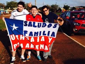 Os chilenos Fernando Troychok, Alejandro Oyarzo e René Soto (Foto: Giovana Sanchez/G1)