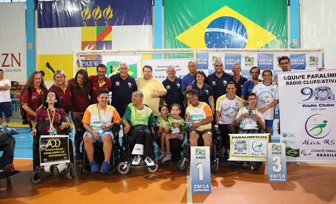 Pódio geral por clubes no regional Centro-Oeste de bocha (Foto: Divulgação/Ande)
