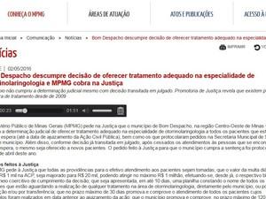 Site do MPMG (Foto: MPMG/Reprodução)