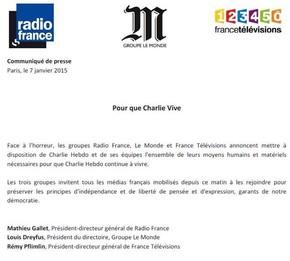 Comunicado divulgado por três grupos de comunicação da França (Foto: Reprodução/Le Monde)