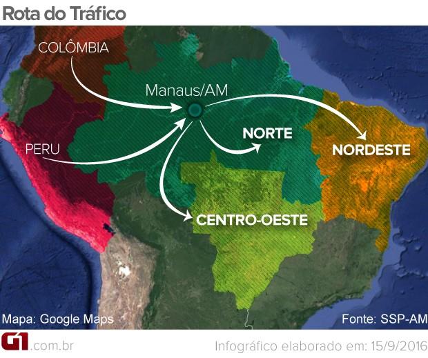 Rota do tráfico  Manaus (Foto: Arte G1)