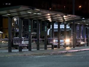 Pontos de ônibus também ficaram vazios no dia da greve (Foto: Reprodução/TV Globo)