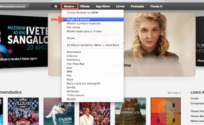 Baixando conteúdos musicais gratuitos na iTunes Store (Foto: Reprodução/Marvin Costa)