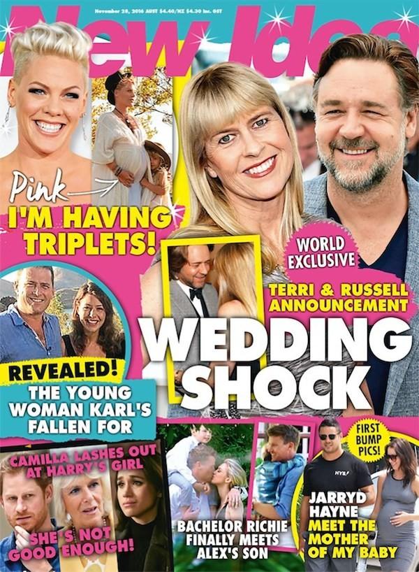 A capa da revista expondo o relacionamento entre Russel Crowe e Terri Irwin (Foto: Reprodução)