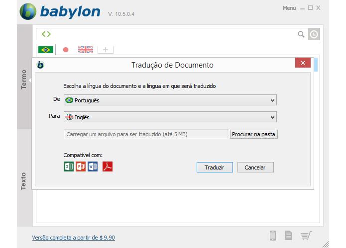 Software permite tradução rápida entre vários idiomas (Foto: Reprodução/Babylon)