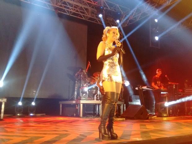 """A galera apronta, apronta, depois a verdade vem à tona"""", declarou cantora durante show em Palmas (Foto: Gabriela Lago/G1)"""