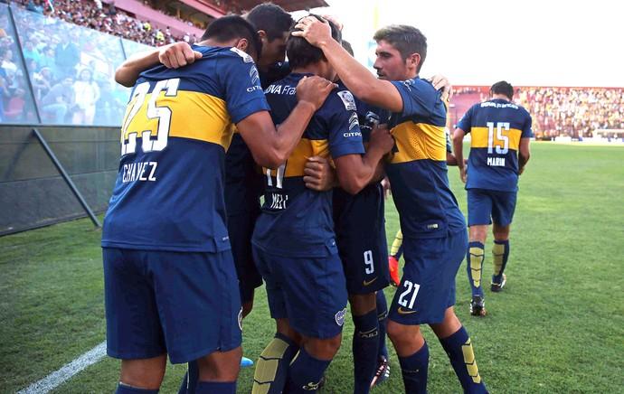 Comemoração do Boca Juniors contra o Palestino (Foto: Agência AP )