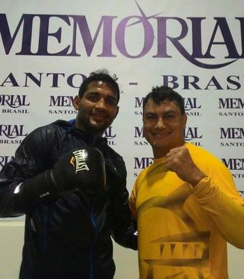 Yamaguchi Falcão e Acelino Popó Freitas treinaram juntos em Santos, São Paulo (Foto: Divulgação/Arquivo Pessoal)