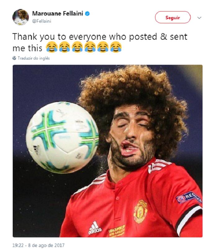 BLOG: Clique flagra rosto deformado de Fellaini após bolada, e volante vira meme