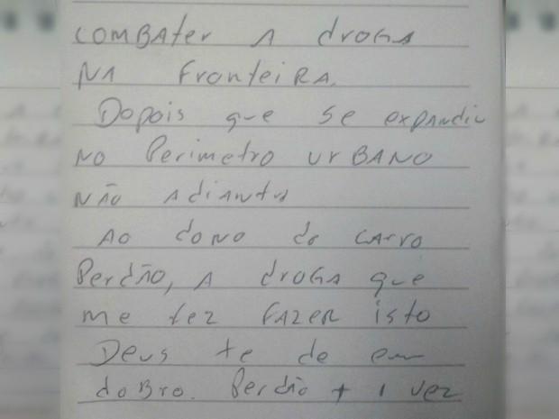 Homem furta carro e abandona com bilhete de perdão: 'Deus dê em dobro' (Foto: Arquivo Pessoal)