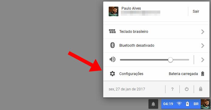 Acesse as configurações do Chrome OS (Foto: Reprodução/Paulo Alves)
