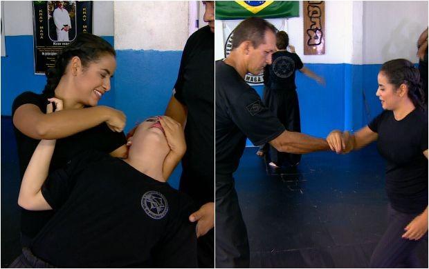 Apresentadora aprende a técnica de defesa pessoal krav maga (Foto: Amazônia Revista)