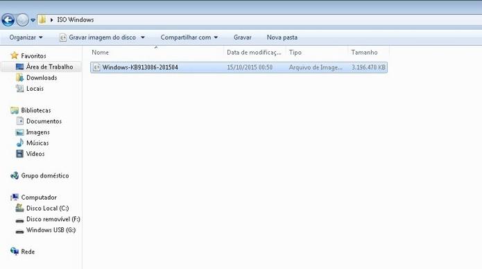 Arquivo ISO salvo em pasta de fácil localização (Foto: Reprodução/Raquel Freire)