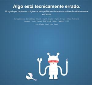 Imagem do Twitter nesta quinta-feira (31) avisa que site está com problemas (Foto: Reprodução)