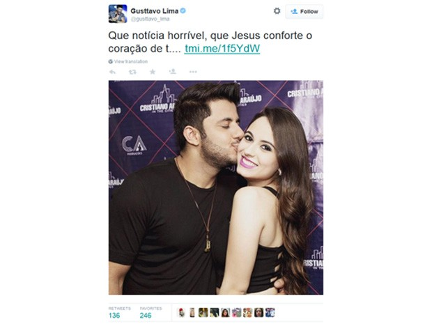 Gusttavo Lima lamenta acidente de Cristiano Araújo (Foto: Reprodução/Twitter)